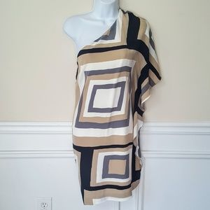 Trina Turk Silk Geo One Shoulder Dress 8